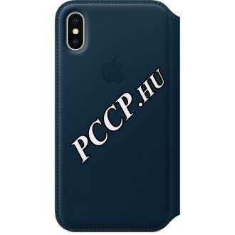 Apple Iphone X kék bőr oldalra nyíló tok