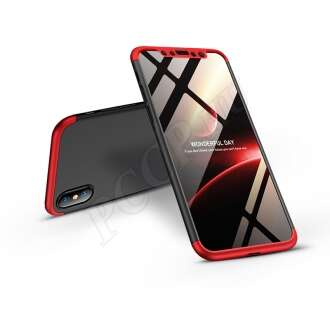 Apple Iphone X fekete/piros három részből álló védőtok