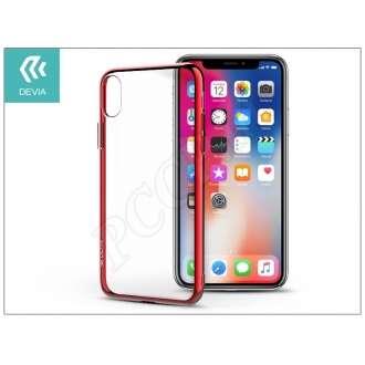 Apple Iphone X piros/átlátszó szilikon hátlap
