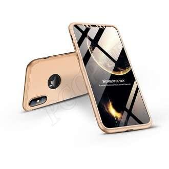Apple Iphone XS arany három részből álló védőtok logó kivágással
