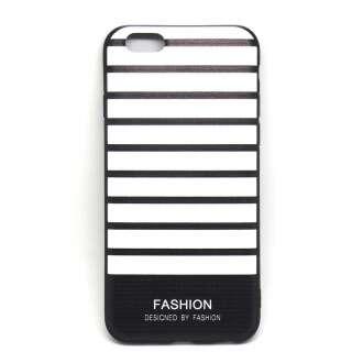 Apple Iphone 8 Plus fekete/fehér szalagos design hátlap