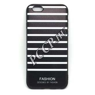 Apple Iphone X fekete/fehér szalagos design hátlap