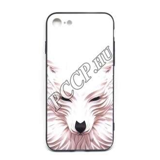 Apple Iphone X fehér farkasos design hátlap