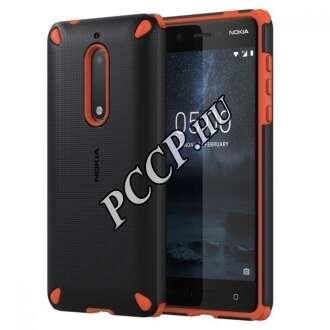 Nokia 5 fekete/narancs ütésálló műanyag hátlap