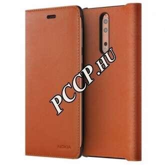 Nokia 8 barna book cover bőr tok