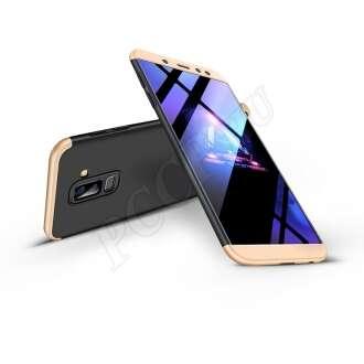 Samsung Galaxy A6 Plus (2018) fekete/arany három részből álló védőtok