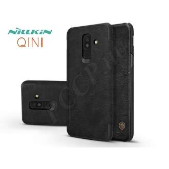 Samsung Galaxy A6 Plus (2018) fekete oldalra nyíló flip tok