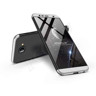 Samsung Galaxy J4 Plus fekete/ezüst három részből álló védőtok