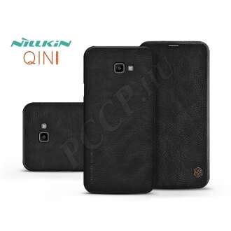 Samsung Galaxy J4 Plus fekete oldalra nyíló flipes tok