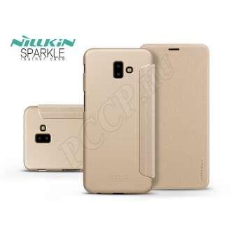 Samsung Galaxy J6 Plus arany oldalra nyíló flip tok