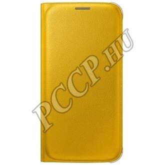 Samsung Galaxy S6 sárga bőr book cover tok