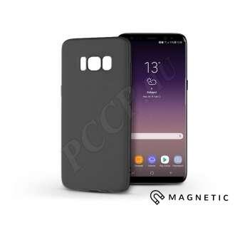 Samsung Galaxy S8 Plus fekete szilikon hátlap beépített fémlappal