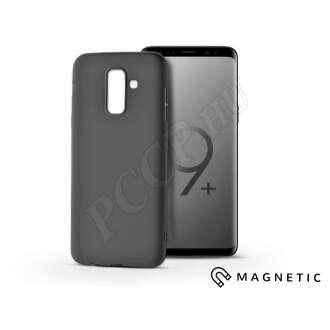 Samsung Galaxy S9 Plus fekete szilikon hátlap beépített fémlappal