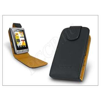 LG KP500 fekete bőr flip tok