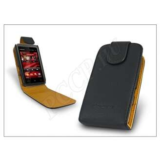 Nokia 5530 fekete bőr flip tok