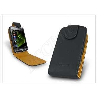 Samsung Omnia II fekete bőr flip tok