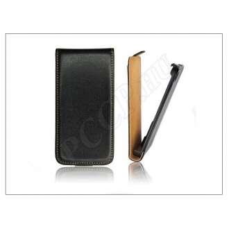 Huawei Ascend Y220 fekete bőr flip tok