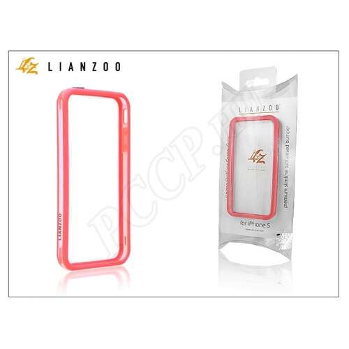 Apple Iphone 5 átlátszó/piros keret