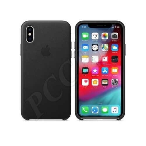 Apple iPhone XS fekete gyári bőr hátlap