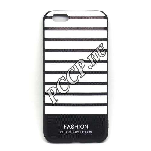 Apple Iphone X fehér/fekete szalagos design hátlap