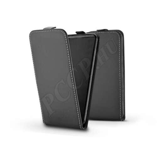 Samsung Galaxy A6 Plus (2018) fekete bőr flip tok