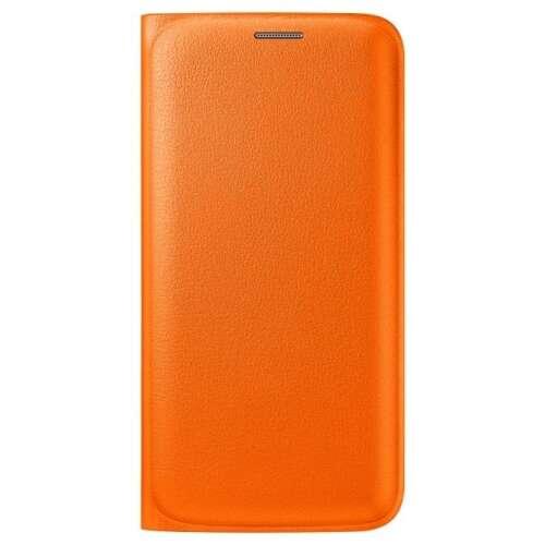 Samsung Galaxy S6 narancs bőr book cover tok