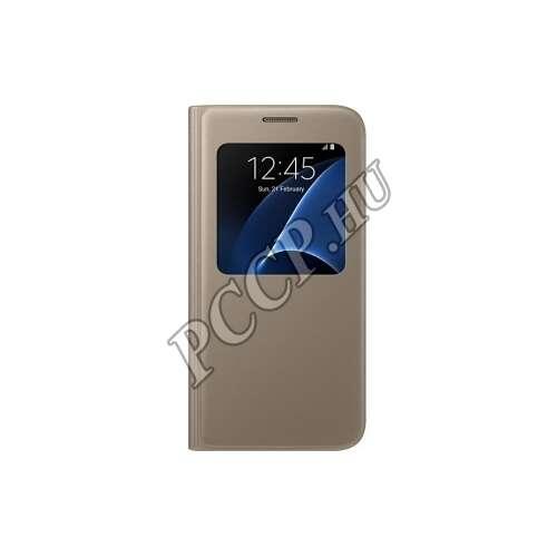 Samsung Galaxy S7 arany bőr S-View cover tok