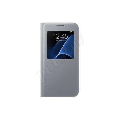 Samsung Galaxy S7 ezüst bőr S-View cover tok