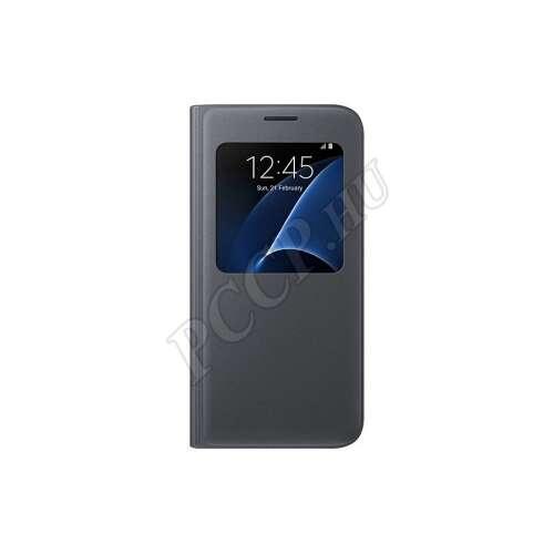 Samsung Galaxy S7 fekete bőr S-View cover tok