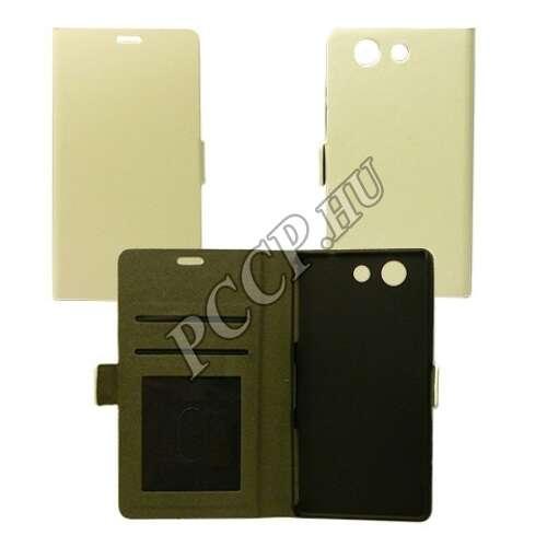 Sony Xperia E5 fehér flip oldalra nyíló tok
