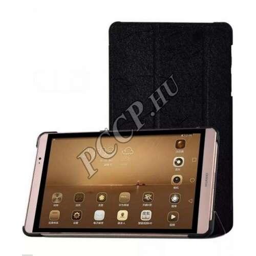 Huawei M2 fekete bőr book cover tok